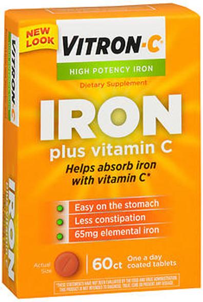 Vitron-C High Potency Iron Tablets, Plus Vitamin C - 60 Tablets