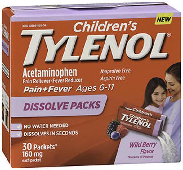 TYLENOL Children's Pain + Fever Dissolve Packs Wild Berry Flavor - 30 ct