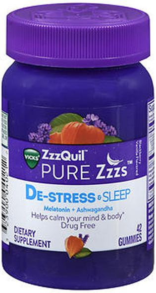 Vicks ZzzQuil Pure Zzzs De-Stress & Sleep Gummies - 42 ct