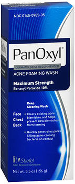 PanOxyl Acne Foaming Wash, 10% Benzoyl Peroxide - 5.5 oz