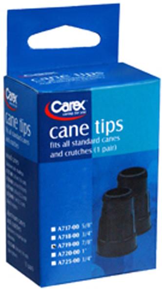 """Carex Cane Tips, Standard, Natural Rubber, Black, 7/8"""""""