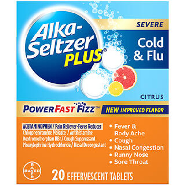 Alka-Seltzer Plus Severe Cold & Flu Powerfast Fizz Citrus Effervescent Tablets - 20 ct