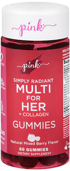 Nature's Truth Pink Simply Radiant Multi for Her + Collagen Gummies - 60 ct