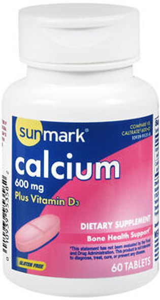 Sunmark Calcium 600 mg plus Vitamin D3 Tablets - 60 Tablets