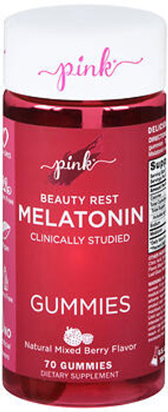 Nature's Truth Pink Beauty Rest Melatonin Gummies Natural Mixed Berry Flavor - 70 ct