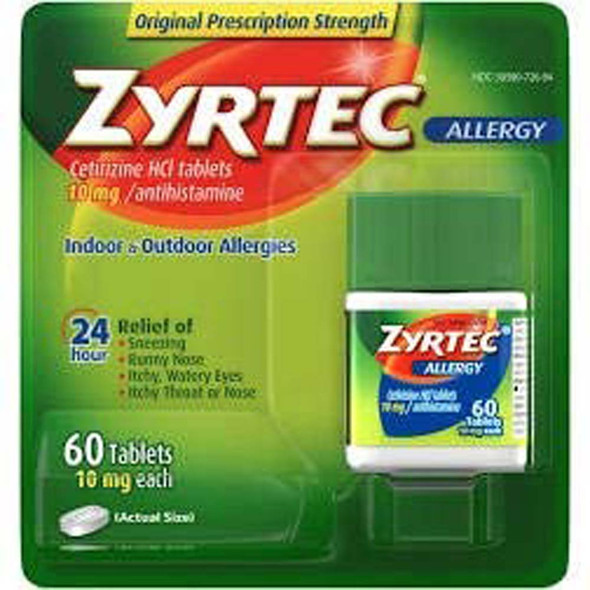 Zyrtec 24 Hour Allergy 10 mg Tablets - 60 ct