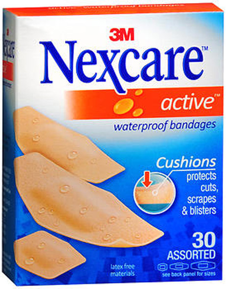 Nexcare Active Waterproof Bandages Assorted - 30ct
