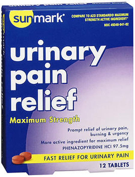 Sunmark Urinary Pain Relief Tablets Maximum Strength - 12 ct