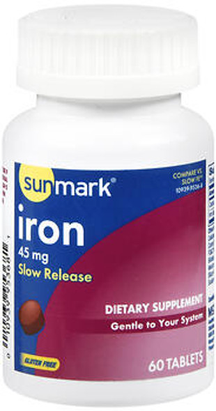 Sunmark Slow Release Iron 45 mg Tablets - 60 ct