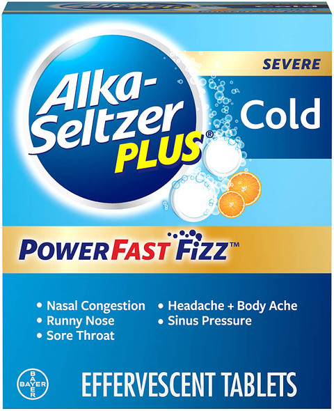 Alka-Seltzer Plus Severe Cold Powerfast Fizz Orange Zest Effervescent Tablets - 20 ct