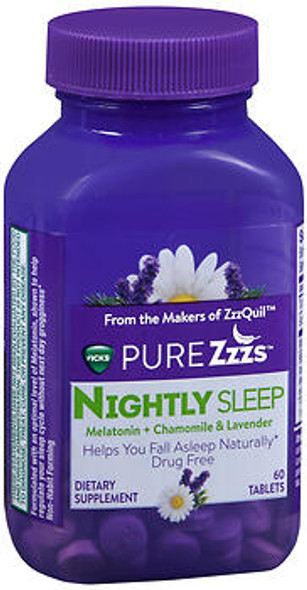 Vicks Pure Zzzs Nightly Sleep Tablets - 60 ct