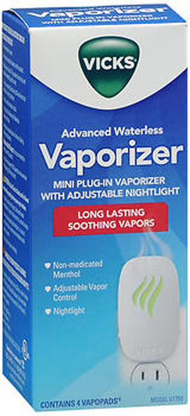 Vicks Advanced Soothing Vapors Mini Waterless Vaporizer With Nightlight, V1750