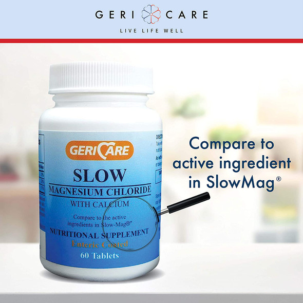 Slow Magnesium Chloride + Calcium Tablets by Geri-Care   Nutritional Supplement   60 Count Bottle