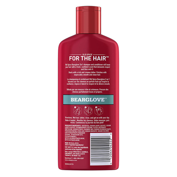Old Spice Bearglove 2 in 1 Mens Shampoo and Conditioner, 12 FL OZ