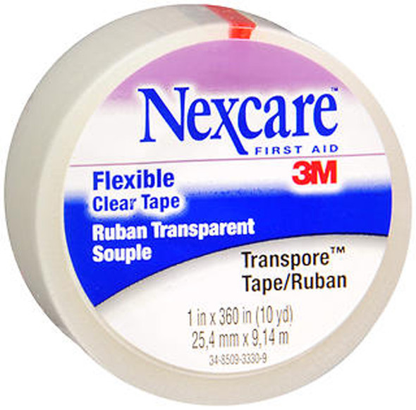 Nexcare Transpore Flexible Clear Tape 1 Inch X 10 Yards - 12ct