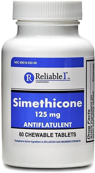 Reliable 1 Laboratories Simethicone 125 MG Antiflatulent Chewable Tablets 60 Count