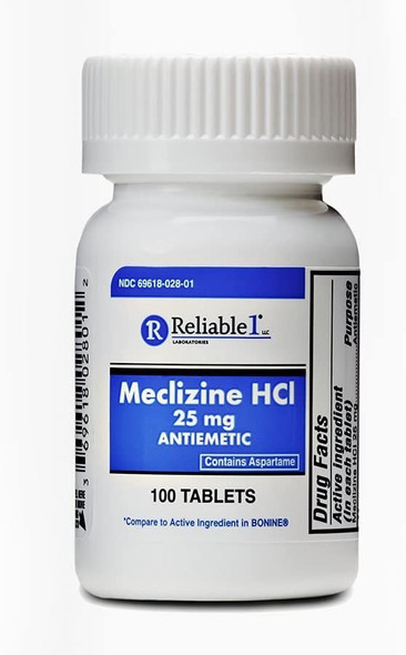 RELIABLE 1 Meclizine HCL 25mg 100 Tablets