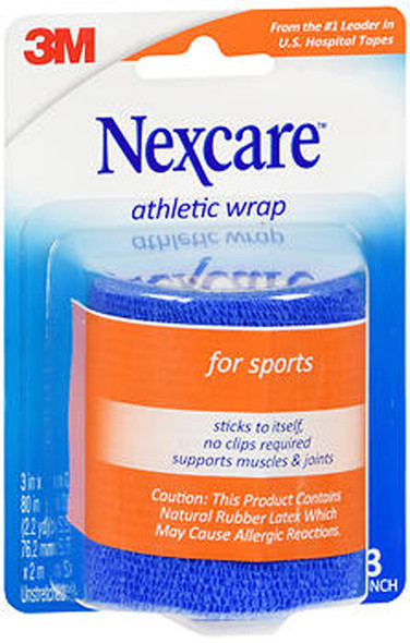 Nexcare First Aid Athletic Wrap, Blue - 3 Inches X 2.2 Yards
