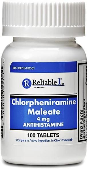 Reliable 1 Chlorpheniramine Maleate 4mg 100 Tablets (1 Bottle)