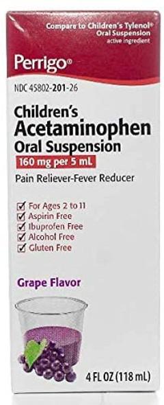 Children's Acetaminophen Oral Suspension Grape Flavor 4 fl oz.