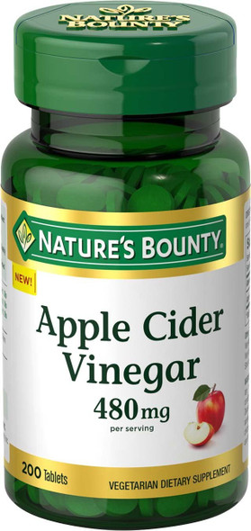 Nature's Bounty Apple Cider Vinegar Dietary Supplement, Supports Energy Levels and Metabolism, Plant Based, 480mg, 200 Tablets