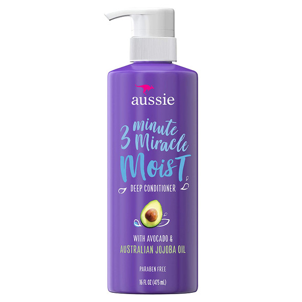 Roll over image to zoom in Aussie Paraben-Free Miracle Moist 3 Minute Miracle Conditioner w/ Avocado for Dry Hair Repair, 16.0 fl oz