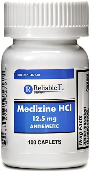 RELIABLE 1 LABORATORIES Meclizine HCL 12.5 mg Caplets 100ct.
