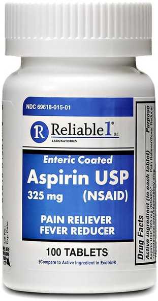 Roll over image to zoom in Reliable 1 Aspirin USP 325 mg (NSAID) 100 Enteric Coated Tablets (1 Bottle)