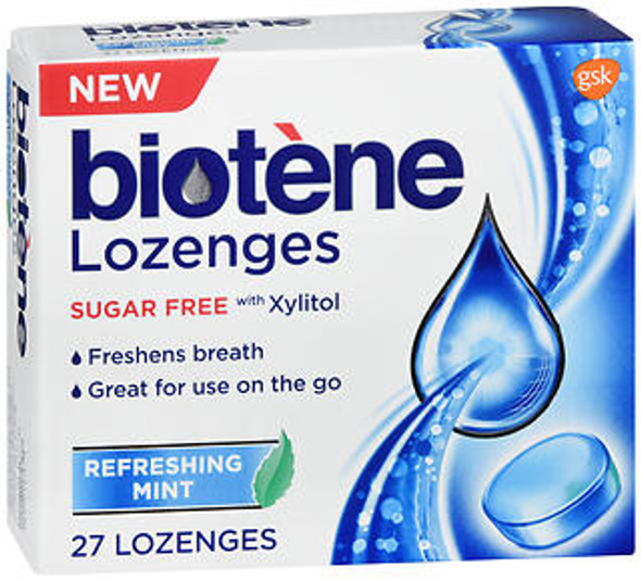 Biotene Dry Mouth Lozenges Sugar Free Refreshing Mint - 27 ct