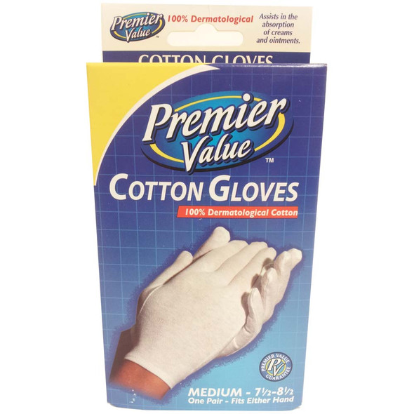 Premier Value Cotton Gloves Medium - 1pr