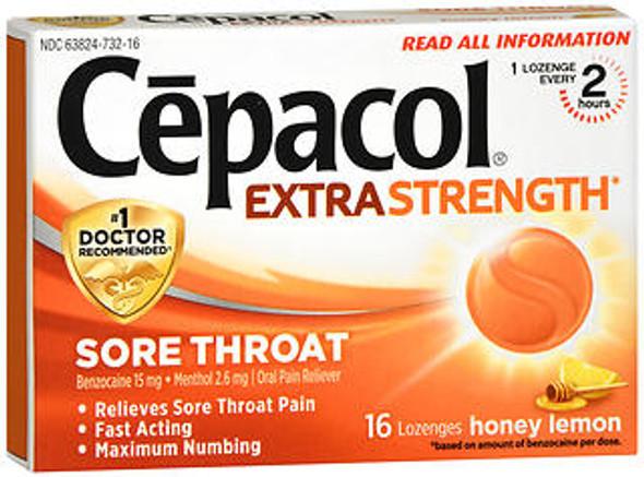 Cepacol Maximum Strength Sore Throat Pain Relief Lozenges Honey Lemon - 16 ct