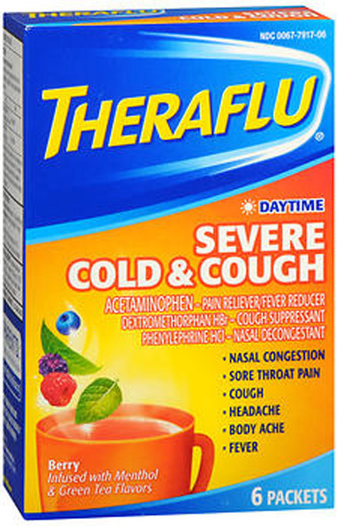 Theraflu Daytime Severe Cold & Cough Packets Berry Infused with Menthol & Green Tea Flavors - 6 ct