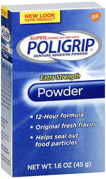 Super Poligrip Extra Strength Denture Adhesive Powder - 1.6 oz