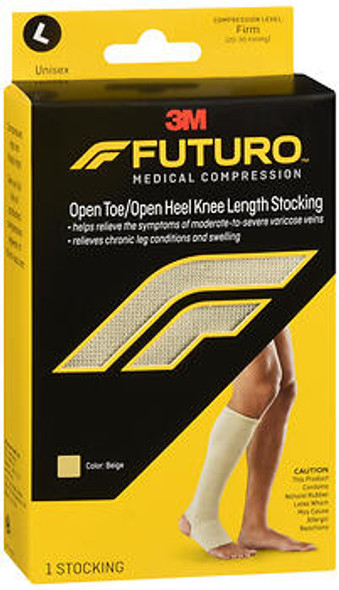 FUTURO Medical Compression Open Toe/Open Heel Knee Length Stockings Unisex Large Beige Firm 71050