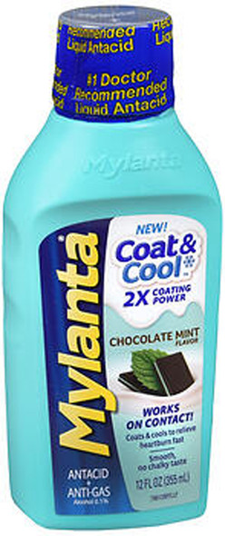 Mylanta Coat & Cool Antacid + Anti-Gas Liquid Chocolate Mint Flavor - 12 oz