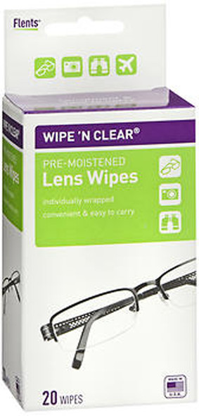 Flents Wipe 'N Clear Pre-Moistened Lens Wipes - 20 count
