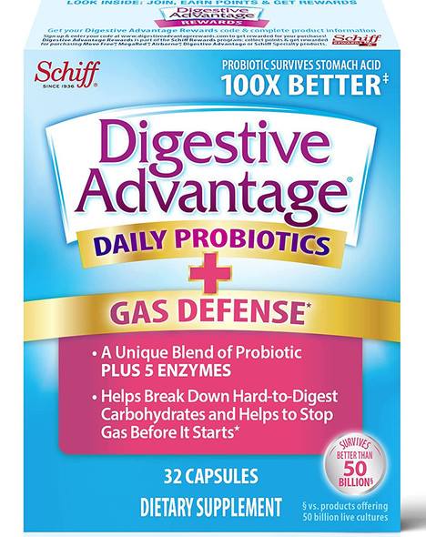 Schiff Digestive Advantage Fast Acting Enzymes + Daily Probiotic Capsules - 32 ct
