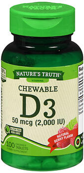 Nature's Truth D3 50 mcg (2,000 IU) Chewable Tablets Natural Berry Flavor - 100 ct