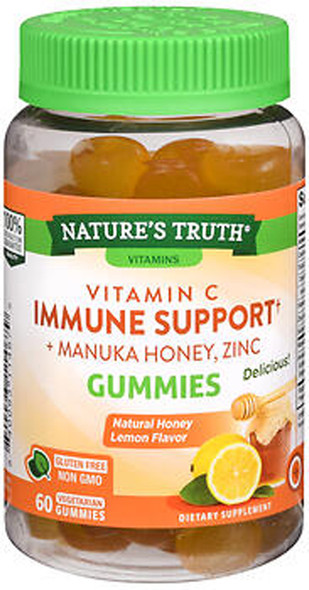 Nature's Truth Vitamin C Immune Support + Manuka Honey Zinc Honey Lemon Flavor Gummies - 60 ct