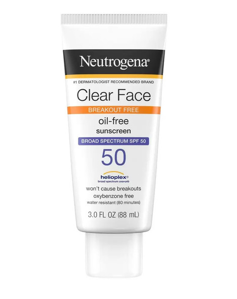 Neutrogena Clear Face Breakout Free Oil-Free Sunscreen SPF 55 - 3 oz