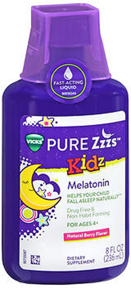 Vicks Pure Zzzs Kidz Melatonin Liquid Natural Berry Flavor - 8 oz