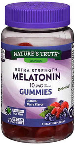 Nature's Truth Extra Strength Melatonin 10 mg Vegan Gummies Natural Berry Flavor - 70 ct
