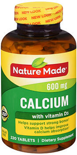 Nature Made Calcium 600 mg + D3 Tablets  - 220 ct