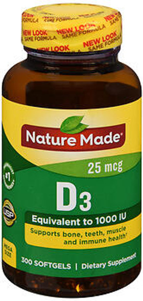 Nature Made D3 25 mcg Softgels - 300 ct