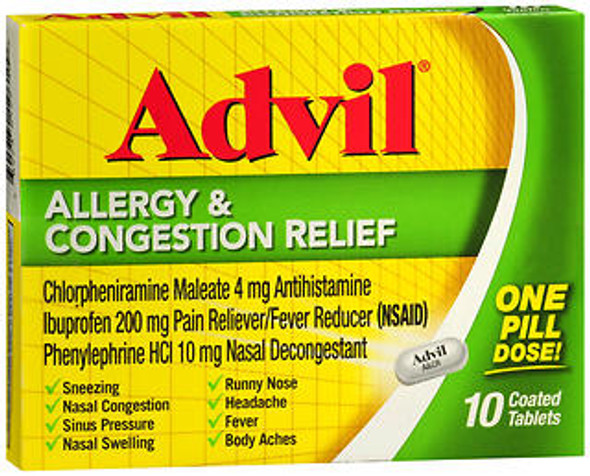 Advil Allergy & Congestion Relief - 10 Coated Tablets
