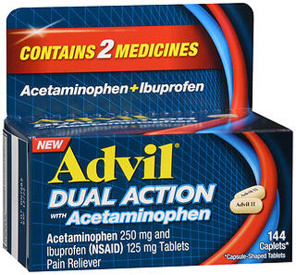Advil Dual Action Acetaminophen + Ibuprofen Caplets - 144 ct