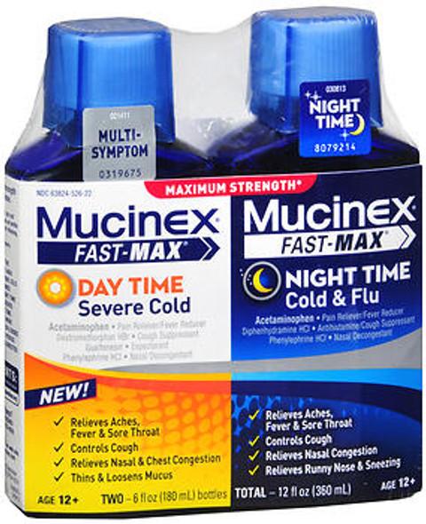 Mucinex Fast-Max Day Time & Night Time Cold & Flu Liquid Maximum Strength, 2 - 6 oz Bottle Pack