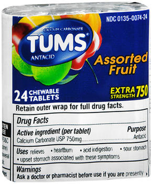 Tums Extra Strength 750 Antacid with Calcium Chewable Tablets Assorted Fruit - 12 Ct.