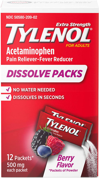 Tylenol Extra Strength Dissolve Packs Berry Flavor - 12 ct