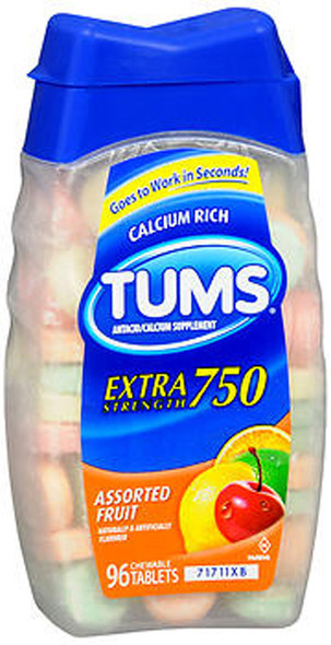 Tums Extra Strength 750 Chewable Tablets Assorted Fruit - 96 ct